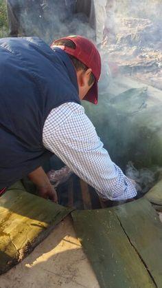 colocando los primeros cortes de carne