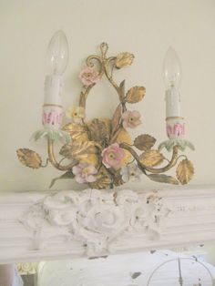 delusions of grandeur: My Shabby Chic-n-Pink Guestroom Rose Cottage, Shabby Chic Cottage, Shabby Chic Lighting, Unique Lighting, Vintage Lighting, Vintage Girls Rooms, School Decorations, Little Girl Rooms, Metallic Paint
