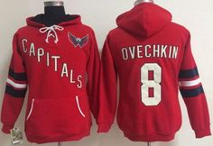 """$45.88 at """"MaryJersey"""" (maryjerseyelway@gmail.com) Washington Capitals 8 Alex Ovechkin Red Women Old Time Heidi NHL Hoodie"""