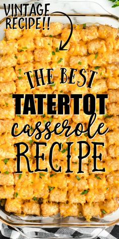 This easy, delicious, homemade tater tot casserole is a simple family favorite. Loaded with ground beef, seasonings, che Tater Tot Recipes, Beef Casserole Recipes, Ground Beef Casserole, Casserole Dishes, Hamburger Tator Tot Casserole, Tatertot Casserole Recipe, Tater Tot Bake, Tater Tot Hotdish, Tater Tot Breakfast Casserole