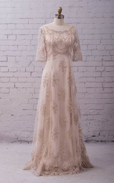 Lace Wedding Gown Wedding Dress with sleeves, buttons up back and train. vintage style, boho classic and simple. Katrina gown Lace Wedding Gown Wedding Dress with sleeves buttons up back Vintage Style Wedding Dresses, Lace Wedding Dress, Western Wedding Dresses, Classic Wedding Dress, Wedding Dress Styles, Bridal Dresses, Vintage Dresses, Quirky Wedding Dress, Western Weddings