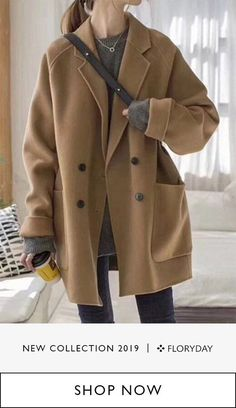 Lengthy sleeve lapel buttons pouches coat, trendy, cozy, time of year style. Winter Outfits, Casual Outfits, Cute Outfits, Fashion Outfits, Fashion Trends, Winter Clothes, Fashion Coat, Mode Mantel, Long Sleeve Turtleneck