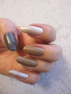 """Blogger Funky & Fifty tested the new Lumene Gel Effect nail polishes in spring trend shades. """"No. 46, Tiny Path is a nice beige shade including some golden shimmer and light pigments and the grey one, 56 Gentle Breeze, has some shimmer in it as well - I'm especially in love with the grey shade!"""" #trend #nailpolish #lumene"""