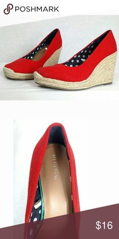 new red MERONA wedge espadrilles Red wedge espadrilles, size 8.5 New without tags. Merona Shoes Espadrilles