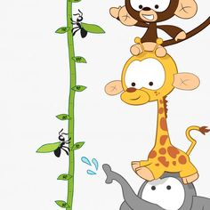 Jungle Animals, Baby Animals, Cute Animals, Height Chart, Removable Wall Stickers, Kid Names, Adhesive Vinyl, Wall Prints, Creative Design