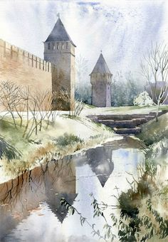 Fortifications by Grzegorz Wrobel Watercolor Architecture, Watercolor Landscape, Art And Architecture, Landscape Paintings, Landscapes, Watercolor Artwork, Watercolor And Ink, Watercolor Techniques, Art Techniques
