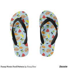 Funny Picnic Food Pattern Kid's Flip Flops Blue Gingham, Gingham Check, Decorating Flip Flops, Kids Flip Flops, Food Patterns, Picnic Foods, Chart Design, Food Humor, Flip Flop Sandals