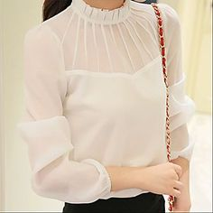 Buy YUMU Stand Collar Long-Sleeve Chiffon Blouse at YesStyle.com! Quality products at remarkable prices. FREE WORLDWIDE SHIPPING on orders over US$35.