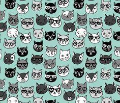 Cat Faces - Pale Turquoise by Andrea Lauren  fabric by andrea_lauren on Spoonflower - custom fabric
