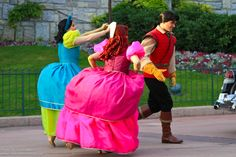 Anastasia and Drizella trying to get Gaston's attention. This is awesome!