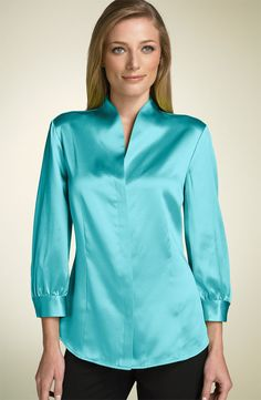 Blue Satin Blouse