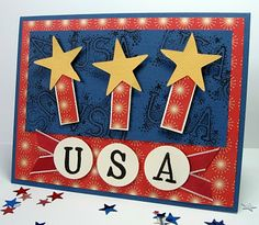 4th Of July Fireworks, Fourth Of July, Homemade Cards For Men, Military Cards, July Crafts, Paper Crafts, Candy Crafts, Printable Cards, Stamping Up