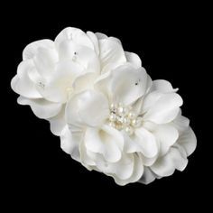 Ivory Wedding Flower Clip With Pearls and Rhinestones