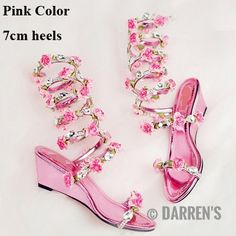 Women Wedding Sandals 2016 Crystal and Pink Flower Women Gladiator Sandal Summer Dress Shoes Wedge Heel Open Toe Bridal Boots