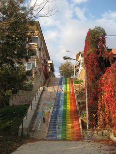 rainbow stairs - picture taken in Kadiköy, Istanbul (Turkey)