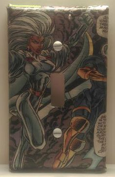 Storm Light Switch Cover, Comic Books, Marvel Comics, Uncanny X-Men, Handmade by ComicBookCreations01 on Etsy