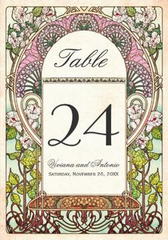 Wedding table numbers. Colorful and intricate art nouveau vintage wedding table numbers. #wedding_table_numbers.