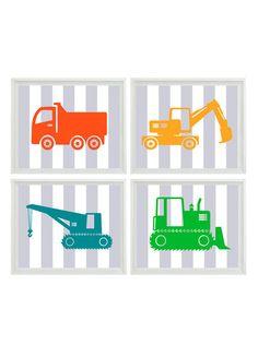 Construction Trucks Nursery Art  Boy Room Gray by RizzleandRugee, $50.00