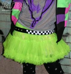Cyber Punk Raver Rave Sheer Tutu Skirt Hyper Neon Green