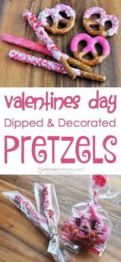 An easy dessert for kids, pretzel twists and rods dipped in pink candy melts then decorated with Valentine's Day hearts and candy sprinkles. Valentine Desserts, Kinder Valentines, Valentines Day Treats, Valentine Day Crafts, Funny Valentine, Holiday Treats, Holiday Recipes, Kids Valentines Party Food, Printable Valentine