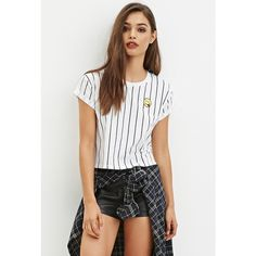 Forever 21 Forever 21 Women's  Patch Striped Tee ($13) ❤ liked on Polyvore featuring tops, t-shirts, stripe tee, stripe top, stripe t shirt, forever 21 t shirts und striped t shirt