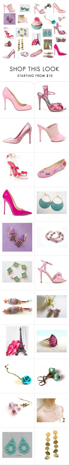 """Pink shoes deserve great jewelry"" by einder ❤ liked on Polyvore featuring Christian Louboutin, Gucci, Charlotte Russe, Manolo Blahnik, Moschino, Jimmy Choo, Charlotte Olympia and Cadeau"