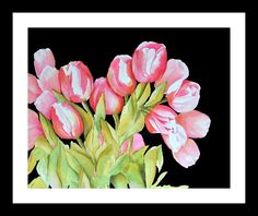 Tulip Art Watercolor Painting Pink Tulip Print by NancyKnightArt
