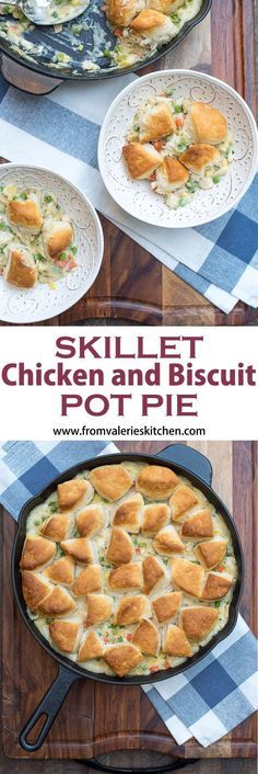 A creamy, chicken and vegetable studded filling is topped with biscuit pieces and baked until bubbly and golden brown This family-friendly Skillet Chicken and Biscuit Pot Pie is an easy, comforting weeknight dinner choice. #potpie #chicken #chickenrecipe #easyrecipe #onepot