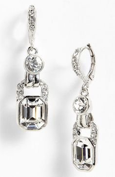Givenchy Drop Earrings in Clear Crystal