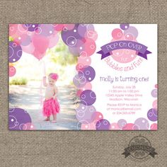 Bubbles & Fun Invitation - Pink and Purple - First Birthday or ANY age! Pop on Over for Bubbles and Fun Bubble Birthday Party Photo Invitation Any Colors ANY text - by Lemonade Design Studio