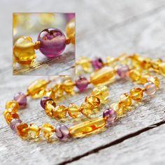Christmas Boho baby gift amber teething necklace V_51 by SimSimArt