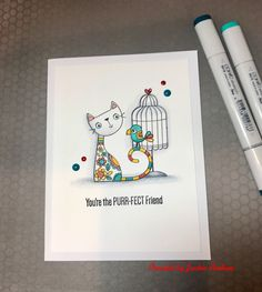 MFT-card using the stamp set Purr-fect Friends. I really love this set . It has the cutest cat and bird images and also two cage images.