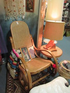 Vintage Cane Rocking Chair With Matching Side Table. From Vendor 1018 In  Booth 206.
