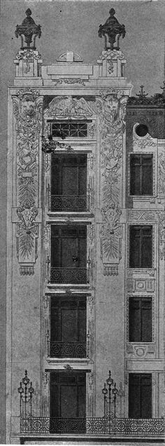 Project apartment house in Vienna. Architect Kamillo Liderhaus. The architecture of the second half of the XIX century. Drawings and sketches.