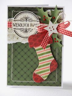 Love this! - Small stocking from cardstock & decorative Xmas papers - makes great embellie for Christmas cards