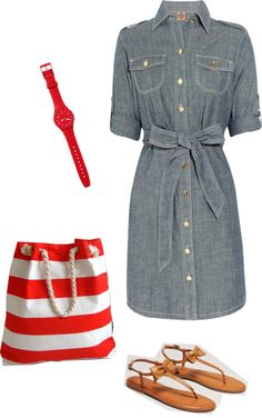 """""""red+chambray"""" by bluegrassbaby98 ❤ liked on Polyvore"""