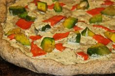 Smoked Salmon and Avocado Pizza with Pesto Cream Cheese Sauce on a Garlic Dill Crust - possibly my favorite homemade pizza ever!!