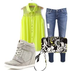 """""""Wedge Sneaker Outfit"""" by awwsnapp on Polyvore"""