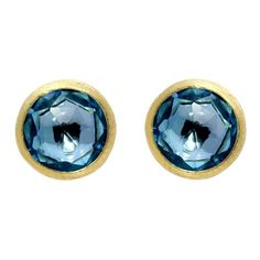 Marco Bicego Jaipur 18ct Yellow Gold London Blue Topaz Stud Earrings, OB957 TPL01. For luxury easy to wear jewellery, the Marco Bicego collections are the perfect place to start. The fascinating combination of Italian craftsmanship and creativity produces the signature designs that Marco Bicego is famous for. Bicego's designs are based upon three signature hallmarks including multi coloured gem stones, hand twisted coil and hand engraved 18ct gold, all which are showcased in his world… Topaz Gemstone, Gemstone Colors, Topaz Earrings, Stud Earrings, Topaz Color, Marco Bicego, Latest Jewellery, London Blue Topaz, Gem Stones