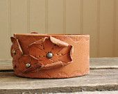 brown leather cuff with flowers ... TO BE CUSTOMIZED
