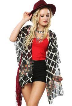 Floral Chiffon Kimono Cardigan | Shop Cardigans at Papaya