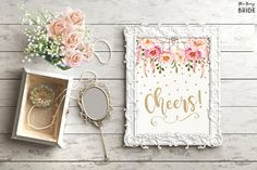 Cheers Sign. Pink Gold Floral Boho Bridal Shower Printable Sign. Alcohol Decor. Bohemian Feathers. Confetti Beer & Wine Table Decor