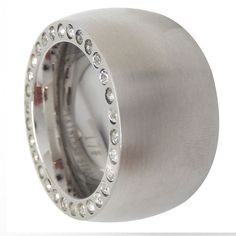 Details zu 3er Ring silber Edelstahl 3fach mit weißen Steinen