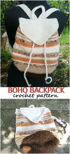 ac051191807e Crochet striped boho backpack pdf pattern