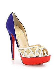 Christian Louboutin - Ekaia Glittered-Front Suede & Leather Pumps (=)