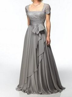 New gray chiffon custom mother of the Bride dresses, wedding party Prom gown plus size