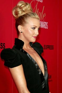 katie cassidy high updo hairstyle for long hair