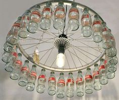 Bicycle wheel and Coke bottles....♥ this