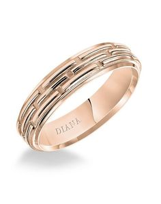 Rose gold comfort fit men's wedding band with textured finish I Style: 11-N85R55-G I by Diana I http://knot.ly/6492B4c5Y