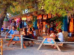 Chirincana Beach Bar at Cala Martina ~ lovely colorful hippy beach bar